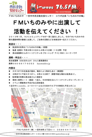 いちのみやの輪FMいちのみや長谷雄蓮華一宮市民活動支援センターラジオ出演130221-1.jpg